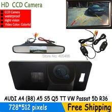 Kolorowa bezprzewodowa HD CCD Samochodów kamera cofania parking forAUDI A4 A1 (B8) A5 S5 Q5 TT/PASSAT 5D R36 z lusterko wsteczne monitor