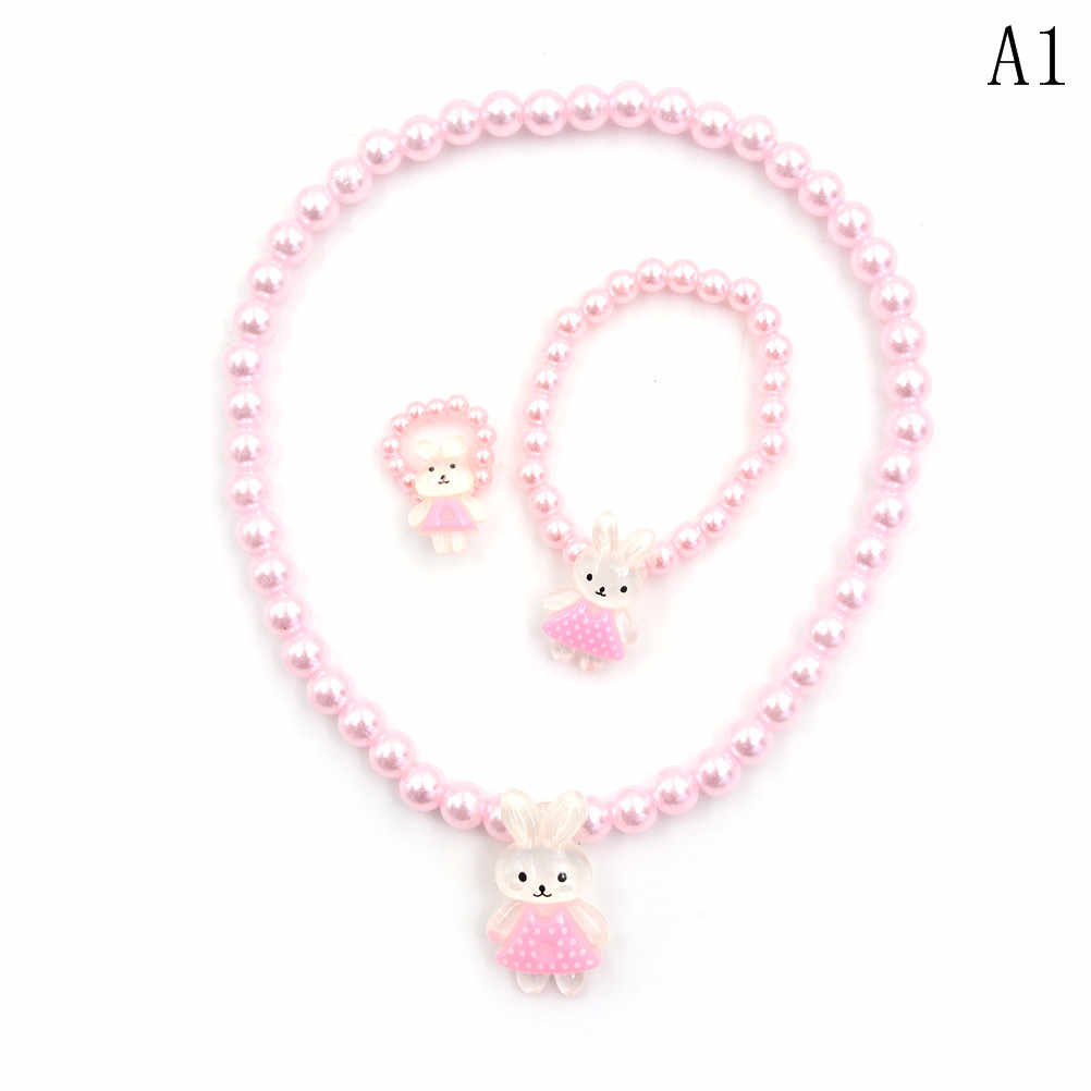 Kids Baby Girl's Imitation Pearls Beaded Animal Designed Rabbit Bear Necklace Bracelet Rings Jewelry Set Children Party Gift