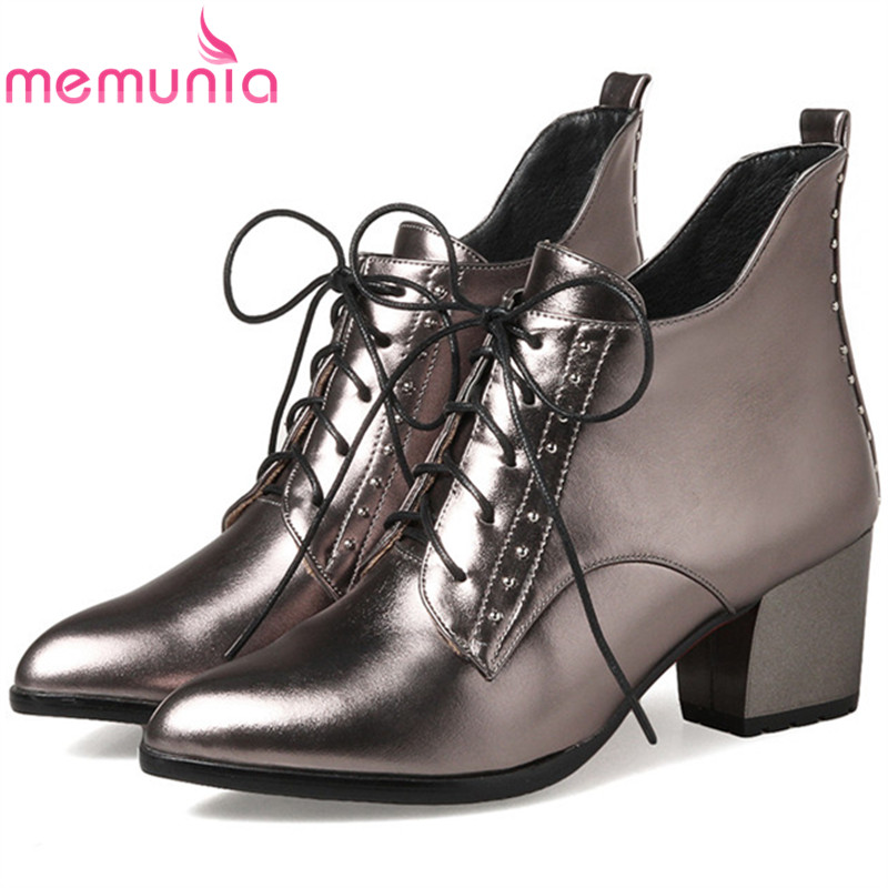MEMUNIA Pointed toe lace-up fashion boots in spring autumn ankle boots for women sexy lady high heels shoes woman big size 34-43