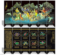 TNUKK Folding Screen 6 Panel Double Side Souvenir Eight Fairies Immortals Crossing Sea.