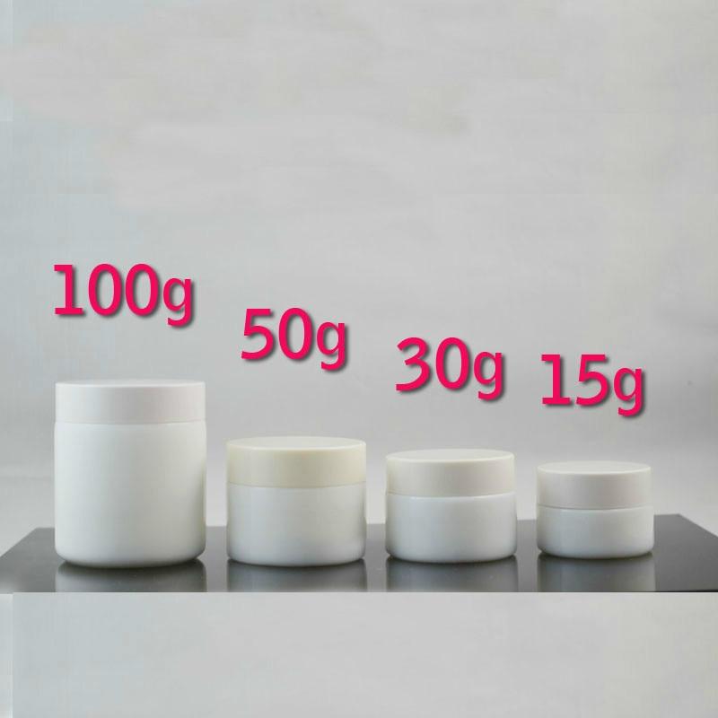 15G 30G 50G 100G White Cosmetic Cream Jar Plastic Lid Elegant Empty Glass Mask Storage Jar High Quality Facial Cream Pot 680ml glass storage jar purple