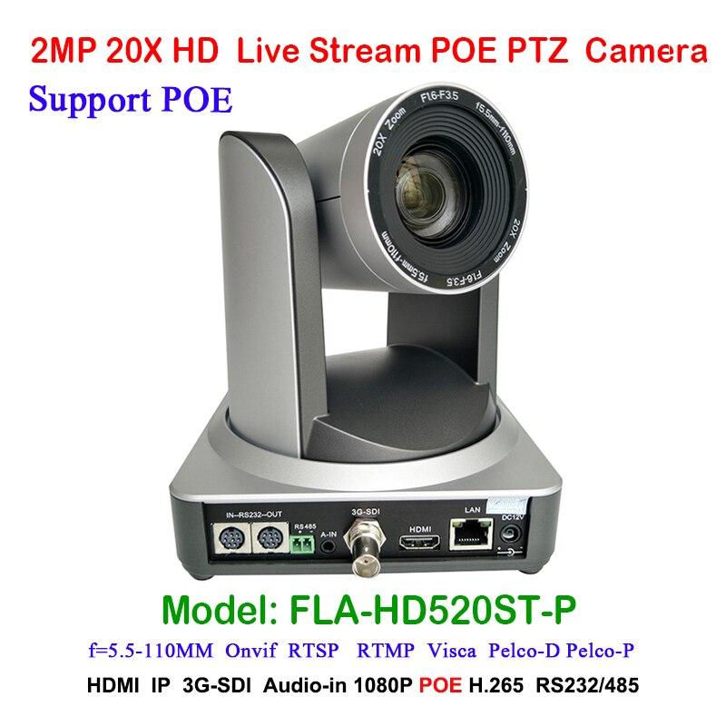 2MP Full HD caméra vidéo numérique de diffusion intérieure PTZ 20x Zoom optique 1920x1080 à 60fps HDMI 3G-SDI IP POE 54.7 degrés FOV