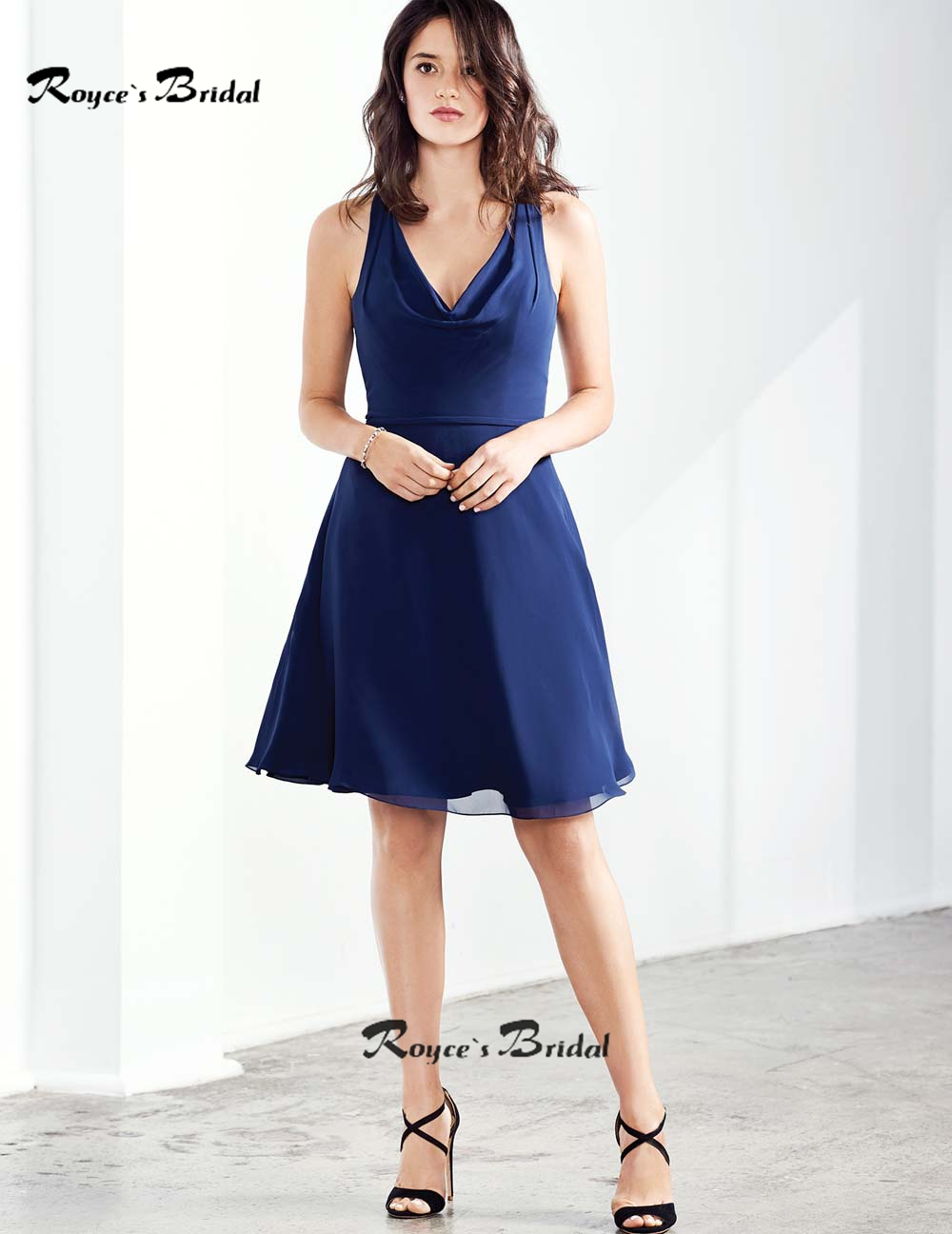 new style navy blue bridesmaid dress mini v neck chiffon short wedding party dresses for women robe demoiselle dhonneur