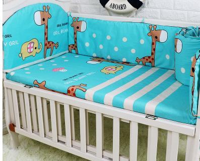 Promotion! 5PCS baby bedding set bumper bed sheet crib bedding set ,include:(bumpers+sheet)