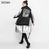 [XITAO] Autumn 2018 Europe Fashion Women Wide waisted Turtlenck Full Sleeve Trench Female Print Letter Hip hop Trench HJH1012