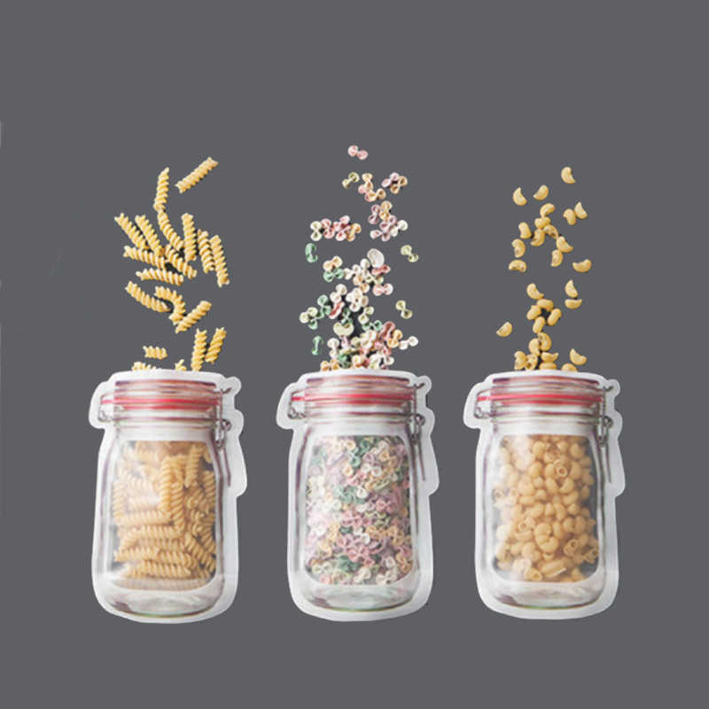S/M/L 4PCS/set Travel Mason Jar Food Saver Storage Bags Kitchen Organizer Candy Biscuit Snacks Fresh Bags Food Carry Seal Bag