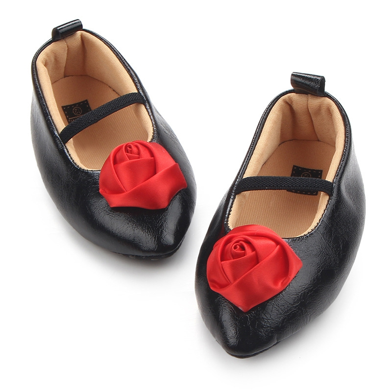 Soft Soled Non-slip Frist Walkers Footwear Crib Lace-up Shoes Baby Girls Bow Leather Shoes