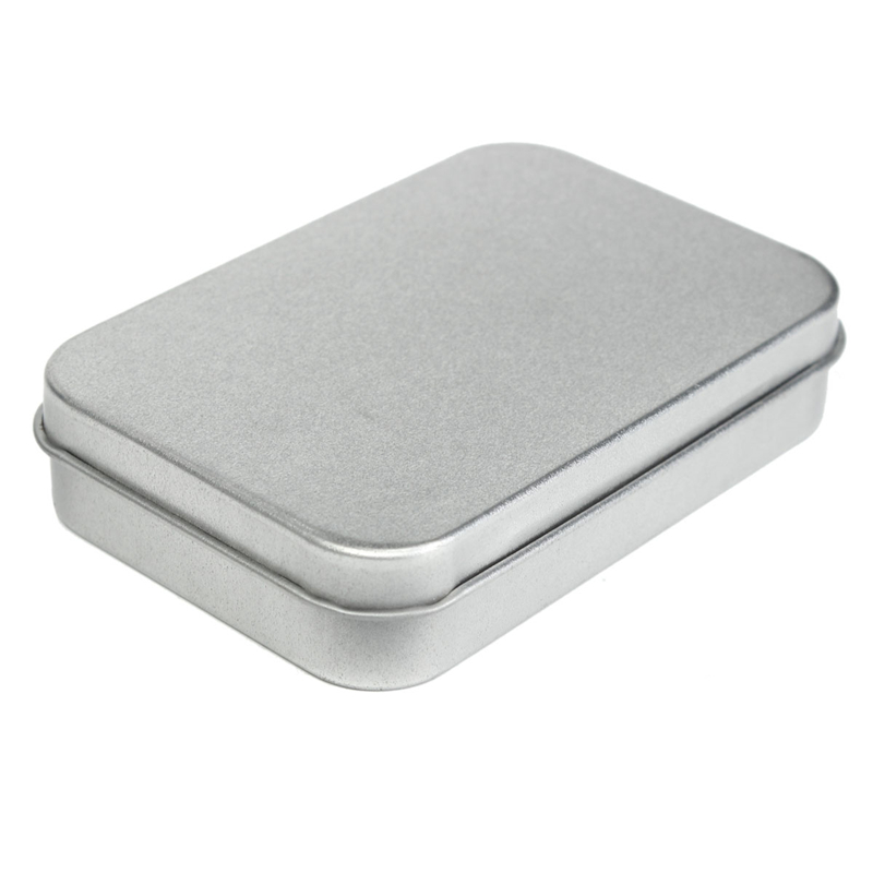 Survival Kit Tin Higen Lid Small Empty Silver Flip Metal Storage Box Case Organizer For Money Coin Candy Keys