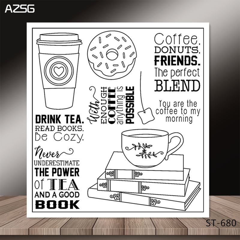 Coffee Book Album: Coffee/book Transparent Silicone Clear Stamps/seal For DIY