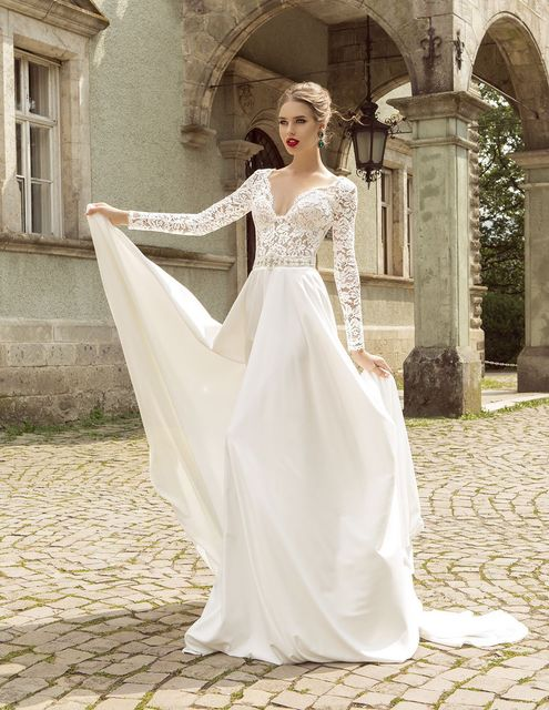 Summer Style Lace Long Sleeve Wedding Dresses 2016 V Neck A Line Dress Beading