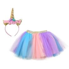 Pastel Clothing Unicorn Girls Skirts Princess Tutu Pony Knee Length Party Skirt with Hairband Set Kids Girl Children