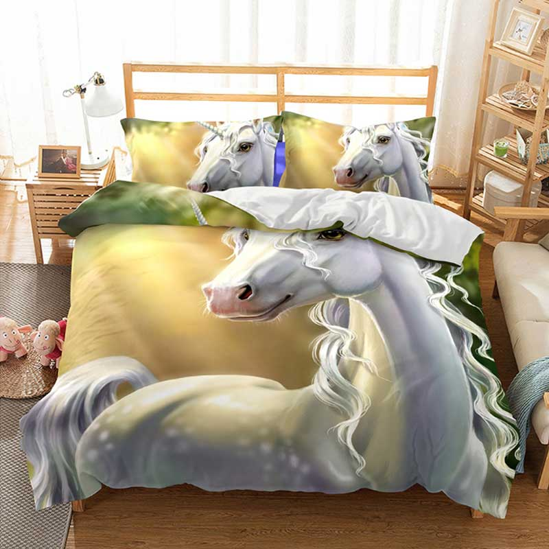 Cilected Unicorn Bedding Set Cartoon Animal Duvet Cover 2 3pcs King Queen Size Bedspreads Kids Home Decoration In Sets From