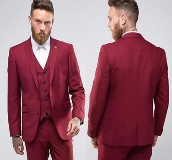 Stylish Design Back Vent Two Buttons Wine Groom Tuxedos Groomsmen Notch Lapel Mens Suits Blazers (Jacket+Pants+Vest+Tie) W:1153