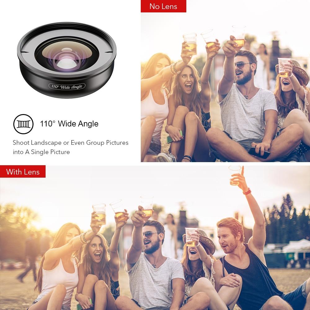 APEXEL HD 5 en 1 objectif de téléphone caméra 4K objectif Macro large Portrait objectif Super Fisheye filtre CPL pour iPhone Samsung tout téléphone portable - 3