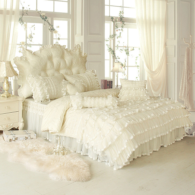 4/6/8 Pcs White pink Jacquard Silk Cotton Luxury Bedding Set King Queen full Twin size Bed Set Lace Duvet Cover Bed Skirt Pillow