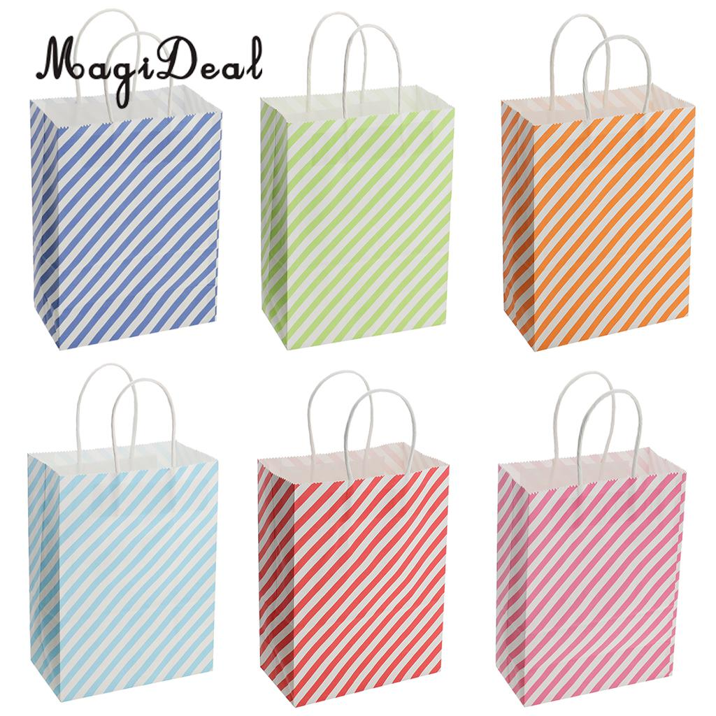 12pcs Fashion Stripe Paper Party Gift Bags Birthday Wedding Retail Loot Shopping Merchandise Boutique Bags