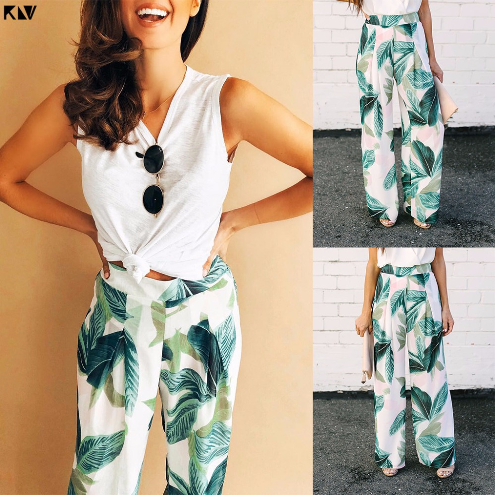 KLV 2019 Women Summer Boho Tropical Leaf Print High Waist   Wide     Leg     Pants   Long Holiday Beach Trousers