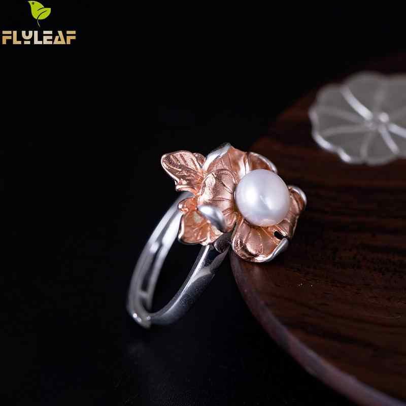 Lá bay Vàng Hồng Vỏ Ngọc Trai Giả Hoa Mở Nhẫn Đối Với Phụ Nữ Trung Quốc Phong Cách Cổ Điển Handmade 100% 925 Sterling Silver Bạc Đồ Trang Sức