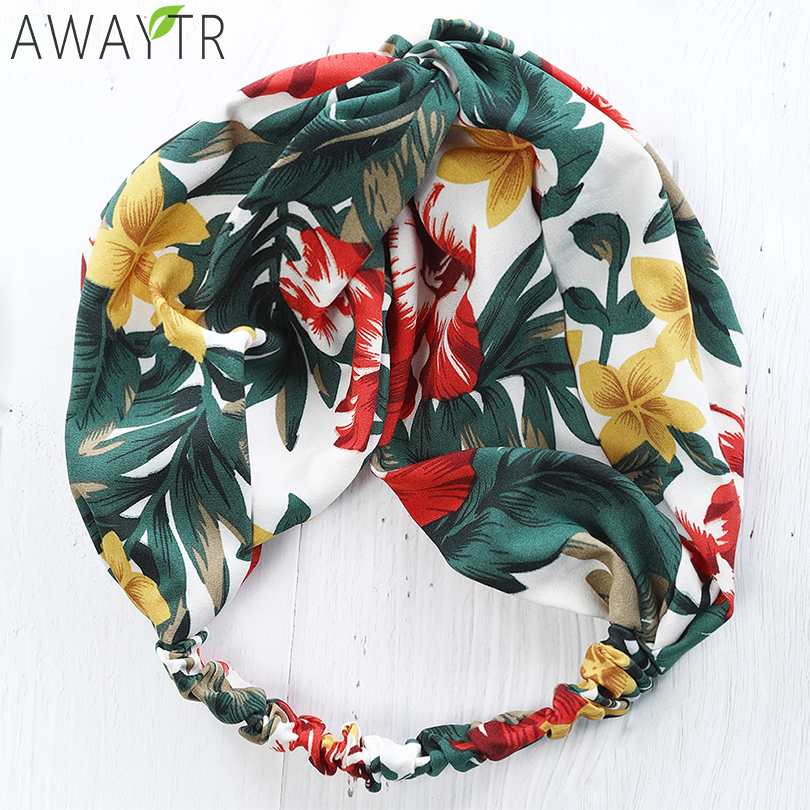 Women Print Elastic Wide Side Headbands Vintage Style Elastic Hairband Hair Accessories Slip Stay Knotted Floral   Headwear   Ladies