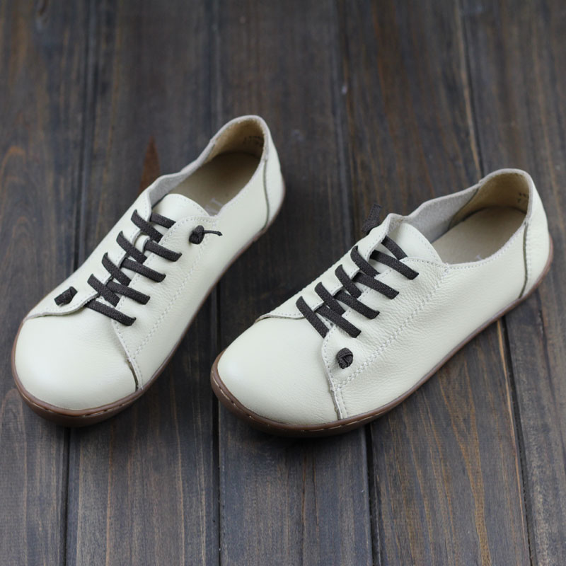New 2018 Chic Cow Leather Pigskin Fashion Womens Flats Soft Bottom Lace Up Breathable Women Causal Shoes Genuine Leather Shoes