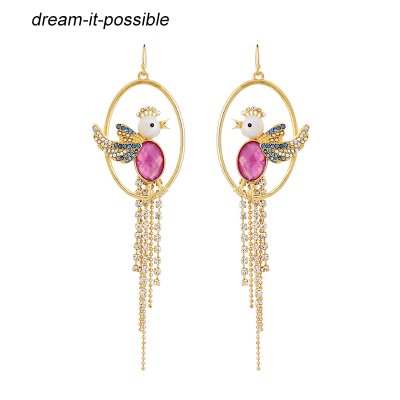 Dream-it-possible vintage temperament exaggerated female long tassel teardrop chains statement big birds earrings 2018 for woman