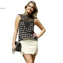 Summer Women Casual Chiffon Lace Blouses Shirts Fashion Hollow Out Polka Dot Sleeveless Tops Renda Blusas Femininas 35