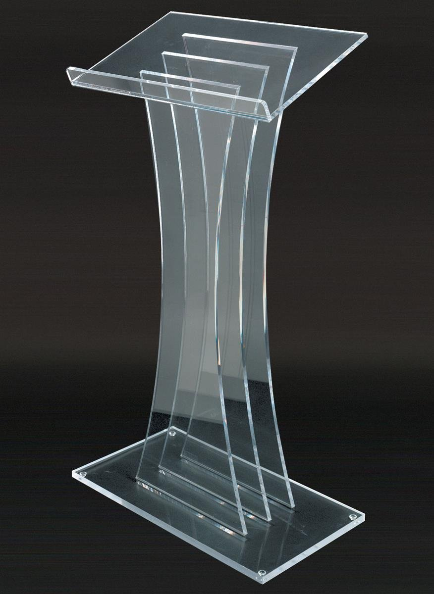 "Modern Acrylic Podium Lectern, Fully Assembled, 0.5"" Thick Panels, 48"" Tall (LECTM)"
