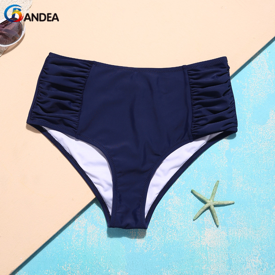 BANDEA Sexy Women Bikini Bottom Navy Blue Solid Swimwear Briefs Low Waist Swimsuit Panties Two-pieces Separated Underwear