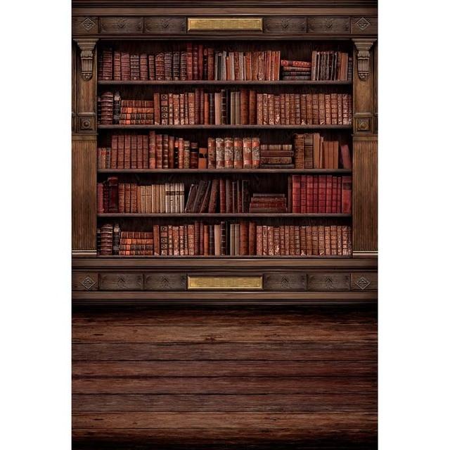 Dunne vinyl achtergrond vintage boekenkast boekenkast, bibliotheek ...