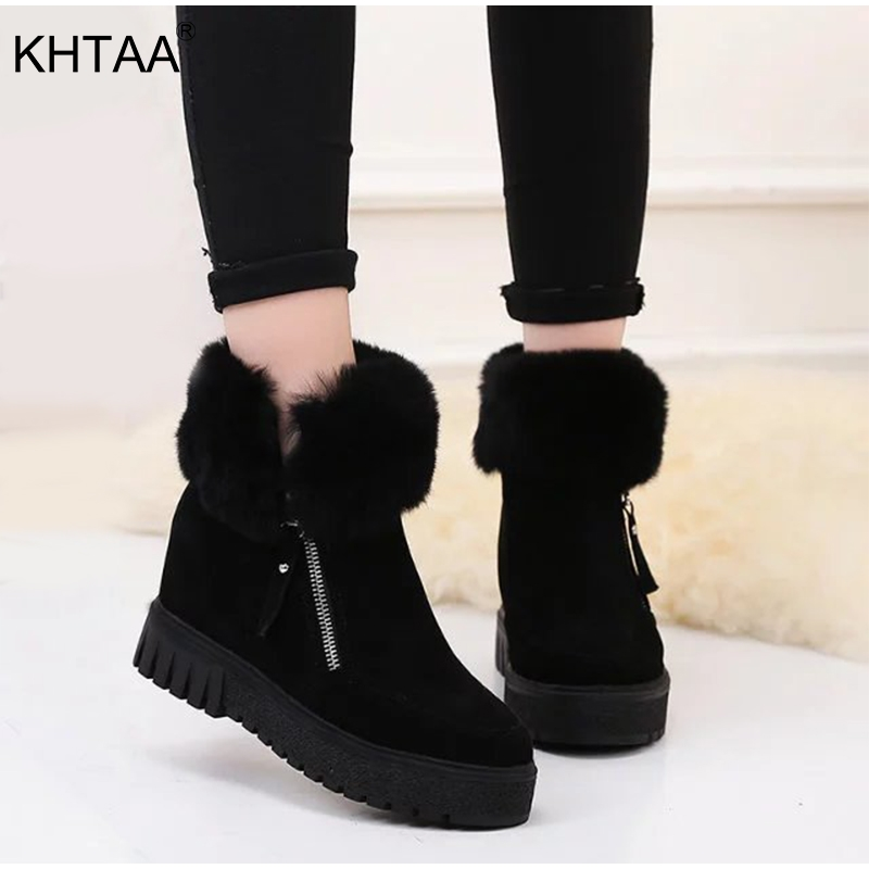 Women Winter Boots Ankle Flat Platform Zipper Fur Plush Warm Flock Height Increasing Ladies Snow Boots 2018 Fashion Female Shoes ekoak new women snow boots fashion winter boots warm plush ankle boots ladies platform shoes woman flock rubber boots