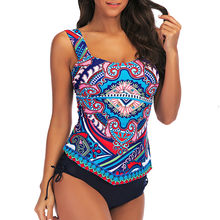 Plus Size Bademode Frauen Floral Print Tankini Badeanzug Swimjupmsuit Gepolsterte Weibliche Biquin # A(China)