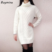 Knitted Sweater Dress 2016 Women Winter Turtleneck Loose White Dresses Sweaters And Pullovers Warm Elastic Plus