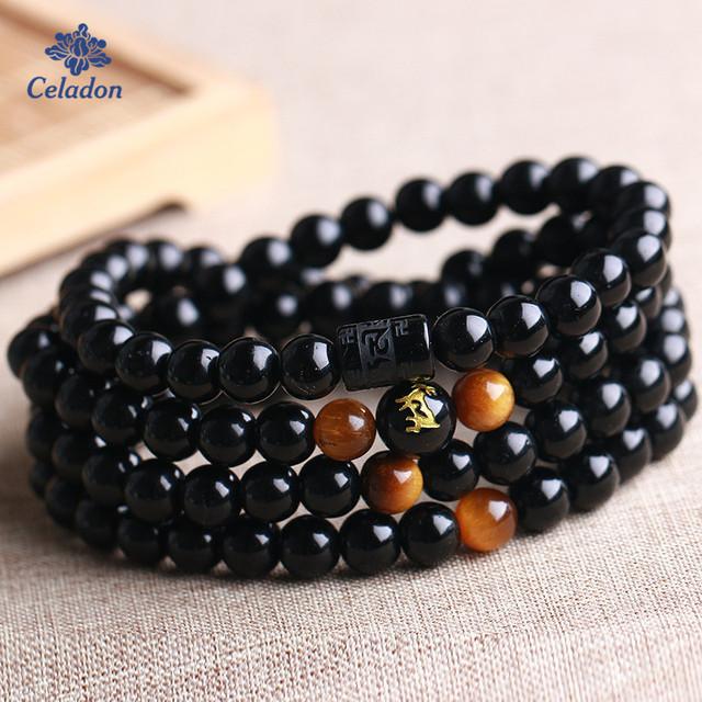 6mm 8mm 108 Beads Obsidian Crystal Zodiac Bracelet Tiger Eyes Black Color Bracelet for Women Men Jewelry