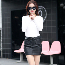 Spring and autumn PU all-match fashion elegant slim hip skirt bust skirt female short leather skirt design Burst wild fashi 1313(China)