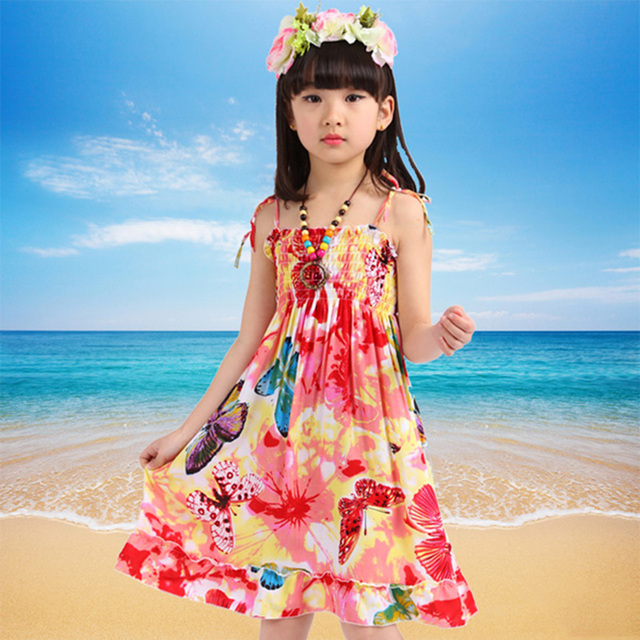 21790f9fb Bohemio de verano estilo las niñas Vestido Floral Shoulderless cordón  collar Vestido para niñas, Vestido