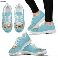 INSTANTARTS 2019 New Spring Running Shoes Cute 3D Cartoon Veterinarian Print Woman Lace Up Sneakers Outdoor Mesh Sports Shoes