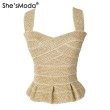 She'sModa элегантные оборками бандажные золотые тонкие пуш-ап женские спандекс Клубные вечерние майки