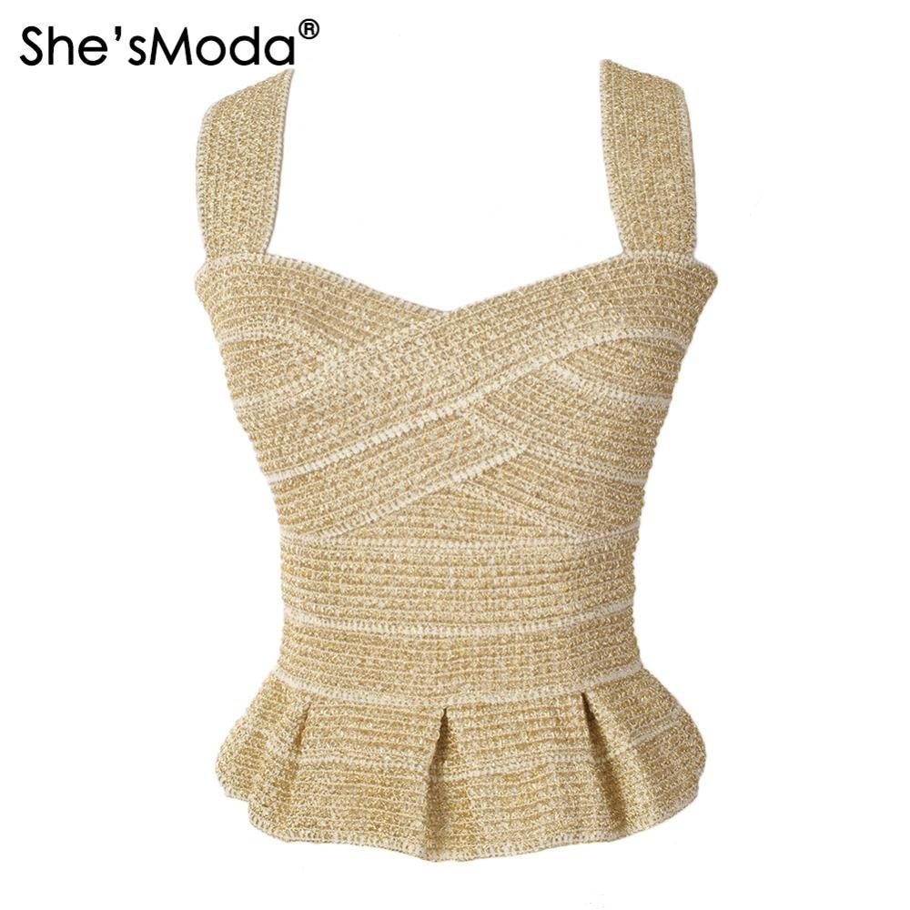 Clube do Partido das Mulheres She'smoda Elegante Ruffles Bandage Ouro Fino Push up Spandex Tanque Camis Colete
