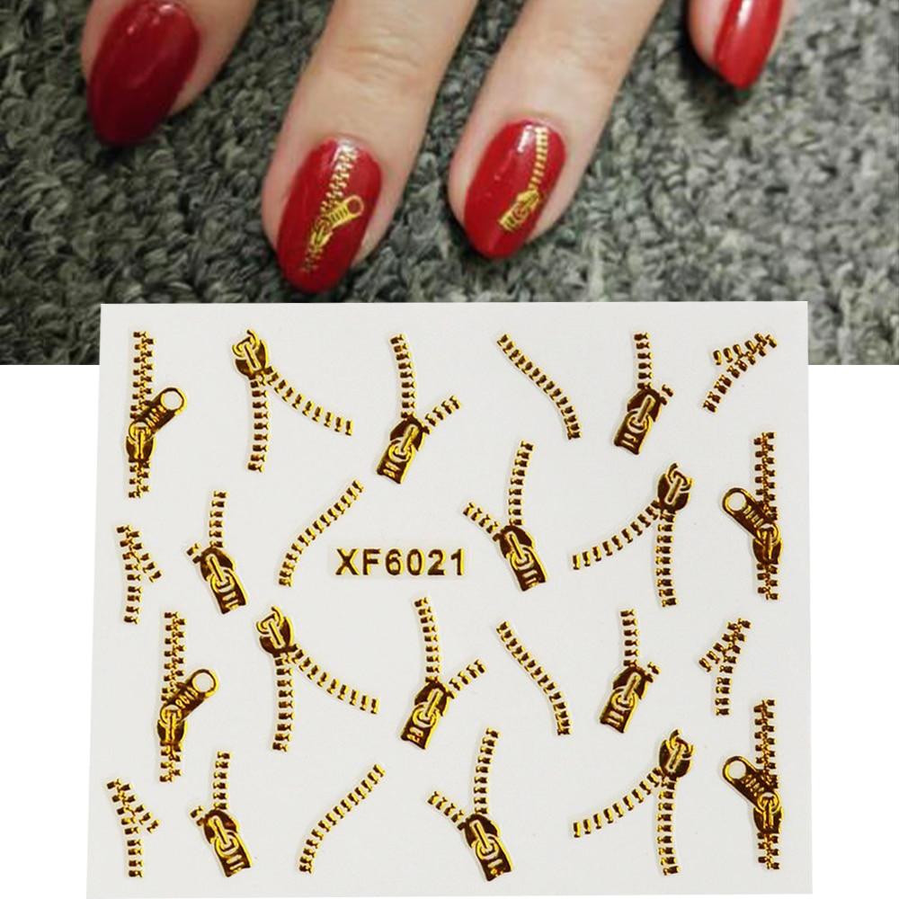1sheets Gold Zipper 3d Designs Nail Art Stickers Decals
