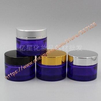 Tarro de crema de vidrio morado de 50g con tapa de aluminio de muchos colores, envase de crema mascarilla para ojos/cosméticos de 50ml