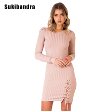 Sukibandra 2018 Autumn Long Sleeve Knitted Sweater Dress Women Lace Up Fashion Bodycon Sheath Dress Casual