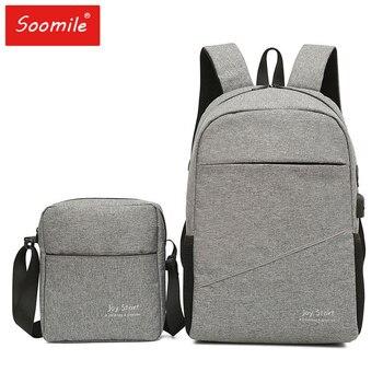 d8ecf701a1dfb Su geçirmez SchoolBag Set 15.6 inç Laptop Sırt Çantası Erkek Kadın USB Şarj  Eğlence seyahat sırt çantası omuzdan askili çanta Erkek Çok Fonksiyonlu