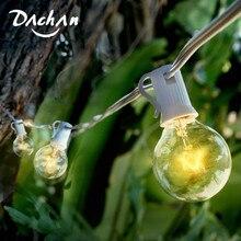8 M Beyaz Kablo Veranda Işıkları G40 Küre Düğün Dize Işık, 25 Temizle Retro Ampuller, dekoratif Parti Noel Açık Arka Bahçe Garland