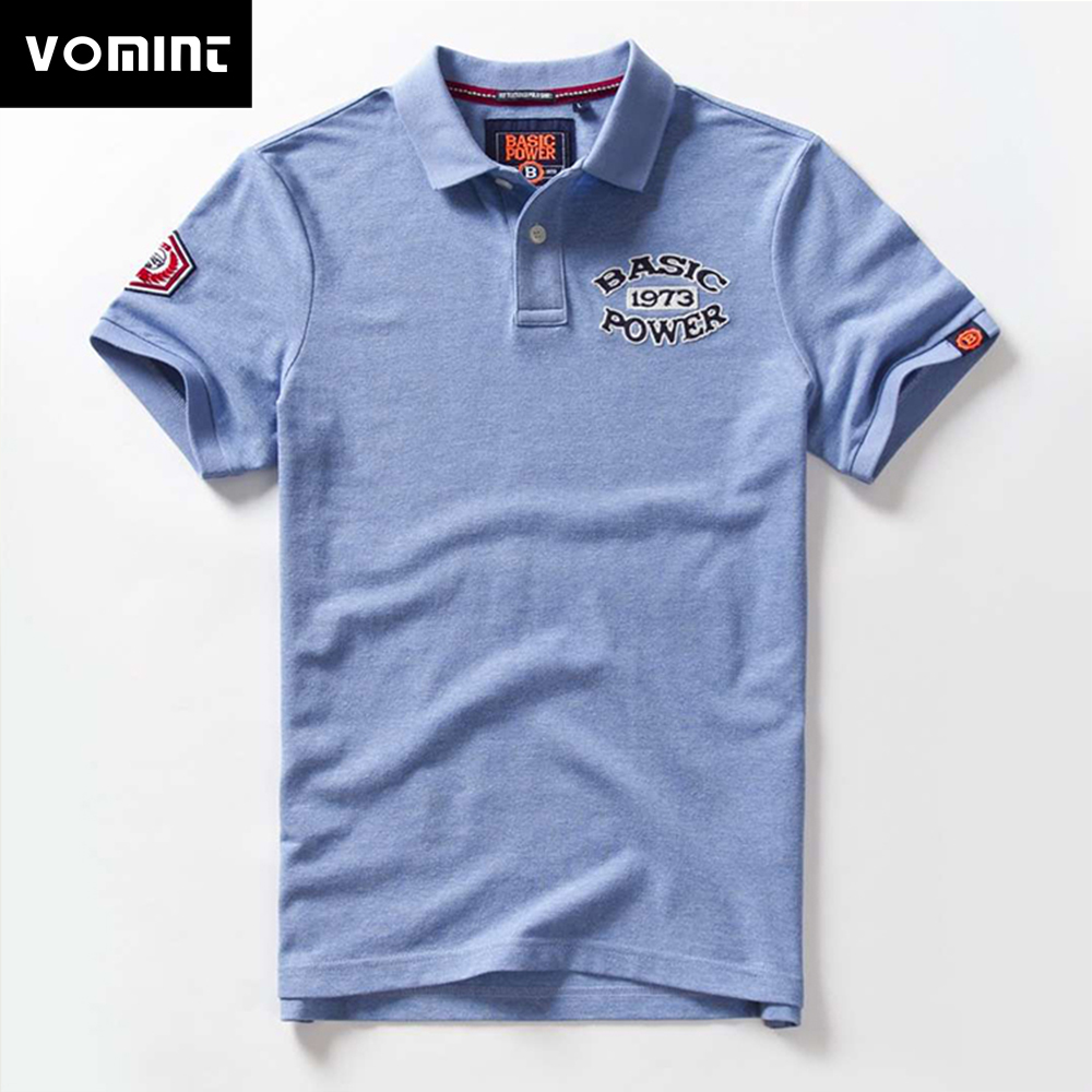 Vomint 2019 NEW Summer New Mens Cotton   Polo   Shirts Short Sleeve Three Letter Embroidered Emblem shirts for Male BP6907