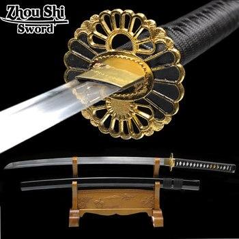В стиле ретро из металла, ручная работа, меч катана, японский ниндзя Katana косплей, настоящий sharp лезвие сувениры подарки