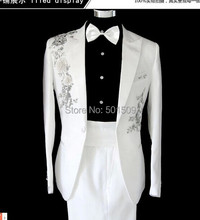 Free shipping mens white sequins glitter embroidery tuxedo suit/stage performance jaceket with pants