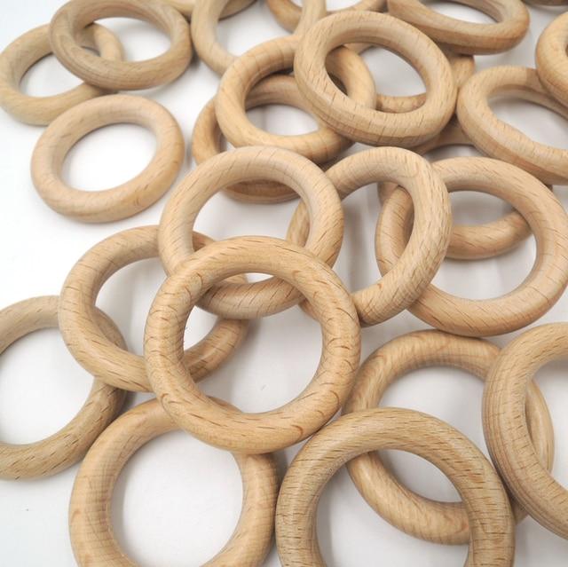 20pcs x 40mm DIY Organic beech Ring round Wood rings teether nursing toy super smooth DIY fitting baby gift WC051