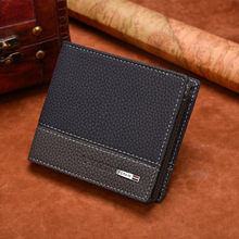 New Men wallet slim PU leather Short Stripes Purse coin pocket Card Holder Male vallet Brand High Quality Wallets portomonee(China)