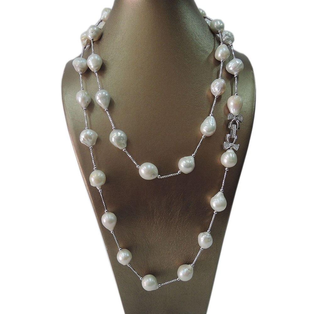 100% collier de perles d'eau douce Baroque-collier multifonction, bonne qualité-925 accessoires en argent; 120 CM total