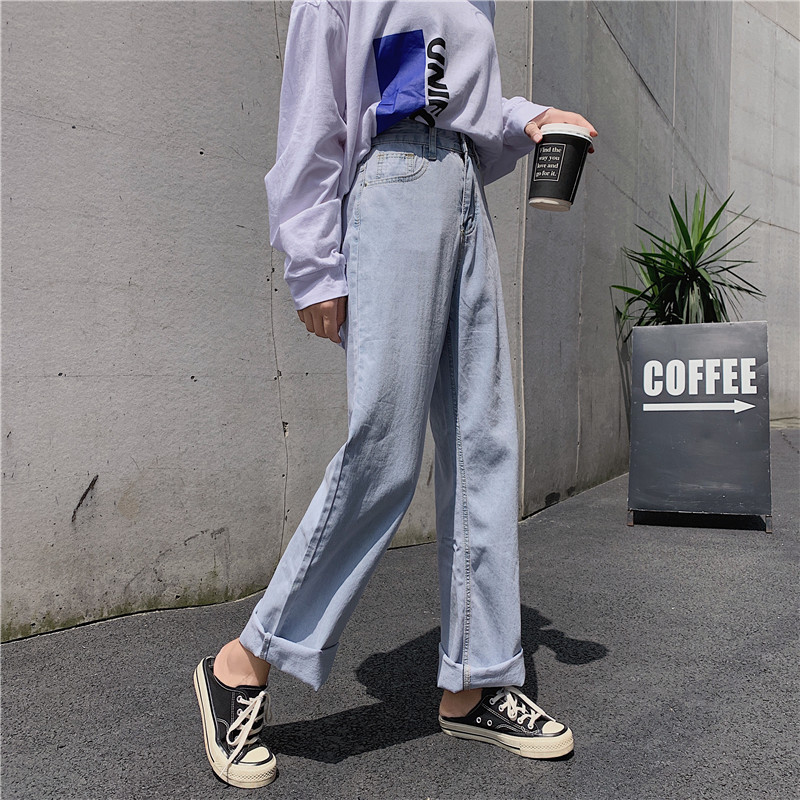 S-XL 2019 korean chic style women denim Pants Casual blue loose high waist   jeans   for women thin straight long trousers (Z8661)